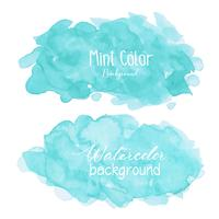 Mint abstract watercolor background. Watercolor element for card. Vector illustration.
