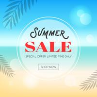 Summer time, Summer beach background vector illustration