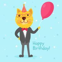 Ilustración de feliz cumpleaños gato