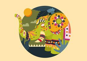 Decorative Painted Elephant Vector Illustration