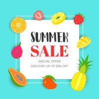 Venda de verão com frutas tropicais, ilustração vetorial