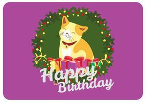 Joyeux anniversaire voeux de Smilling Cat Vector