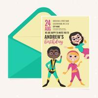Invitación de la fiesta de cumpleaños de los superhéroes del vector
