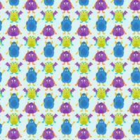 Vector Cute Monsters Seamless Pattern