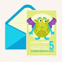Vector Cute Monster Birthday Party Invitation