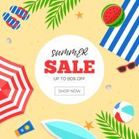 Zomertijd, zomer strand achtergrond vectorillustratie