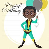 Carta di buon compleanno del supereroe di vettore
