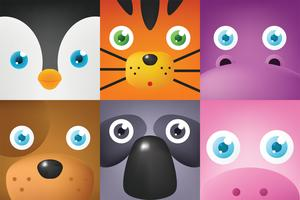 Pack de vecteur visage animal