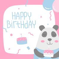 Happy Birthday Animal Panda Cartoon Greeting