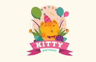 Cute Cat Pet Brithday Vector Illustration