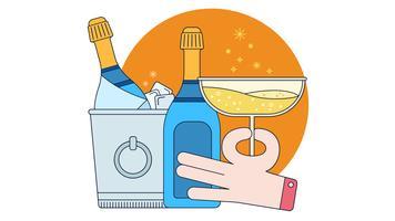 vettore di champagne frappe