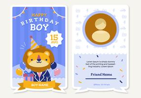 Cute Animal Birthday Invitation vector Illustration