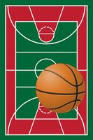 cancha de baloncesto y pelota