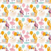 Vector Seamless Birthday Animals Pattern