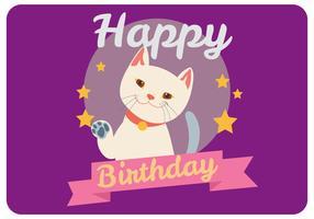 Joyeux anniversaire par un vecteur de chat mignon