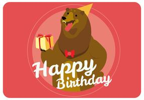 Cute Bear Giving Happy Birthday Vector