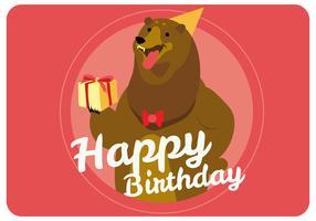 Gullig björn ger grattis på födelsedagen vektor