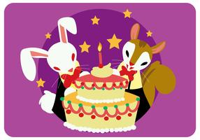 Kanin och ekorre med födelsedagstårtavektor