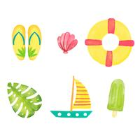 Watercolor Summer Elements Collection vector