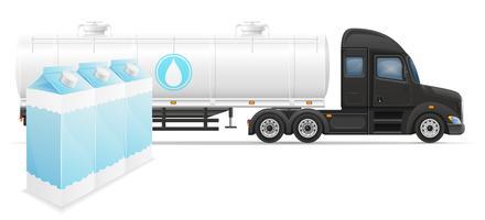 levering van de vrachtwagen de semi aanhangwagen en vervoer van de vectorillustratie van het melkconcept
