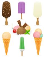 set icons various ice cream vector illustration
