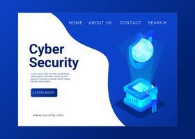 Vetor de página de aterrissagem de segurança cibernética