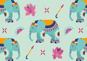 Cute Painted Elephant Pattern Vector Illustration
