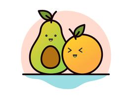 Avocado and Orange Illustration