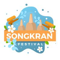 Flat Songkran Festival Vector Illustration