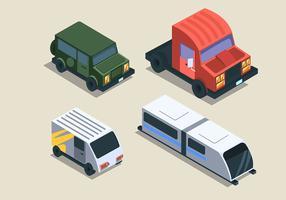 Transporte isométrico Clip Art Set no fundo brilhante