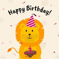 Birthday Greetings with Animals Vector Illustration