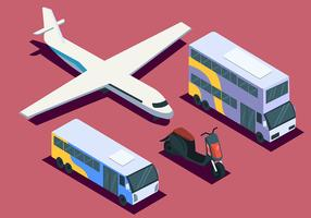 Isometric Transportation Clip Art Set on Pink Background