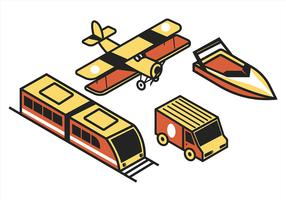Transport isométrique Clip Art Set in Retro