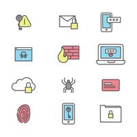 Outlined Icons About Cyber Security