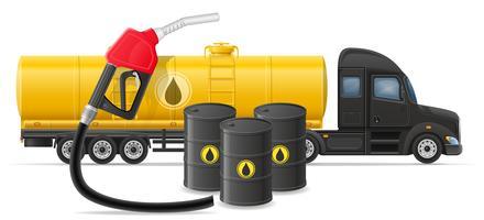 Camión semi remolque entrega y transporte de combustible para la ilustración de vector de concepto de transporte