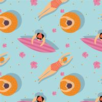 Pool And Summer People Pattern Vector