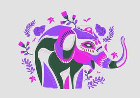 Etnic Pattern On painted Elephant Vector Illustration