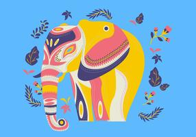 Decorative Etnic Pattern On Painted Elephant Vector