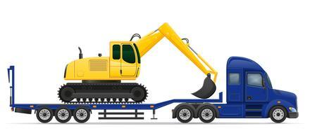 LKW-Sattelschlepperlieferung und Transport der Baumaschinenkonzept-Vektorillustration