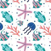 Schattig koraal zee patroon Vector