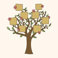 Doodled Family Tree With Flowers