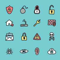 Kritzelte Cyber Security Icons