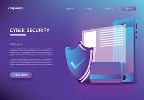 Design de vetor de página de aterrissagem de segurança cibernética