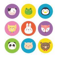 Conjunto de caras de animales vector