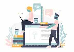 Vector Online Learning Concept Illustration