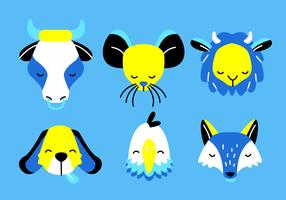Animal Faces Head Set Vector Illustration plate