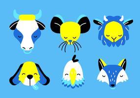 djur ansikten huvud uppsättning vektor platt illustration