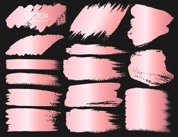 Conjunto de traçado de pincel, pinceladas de grunge de ouro-de-rosa. Ilustração vetorial