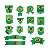 Brazil Flags, Emblems and Ribbon Set Illustration