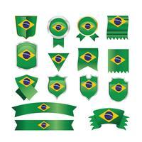 Drapeaux du Brésil, emblèmes et illustration du ruban